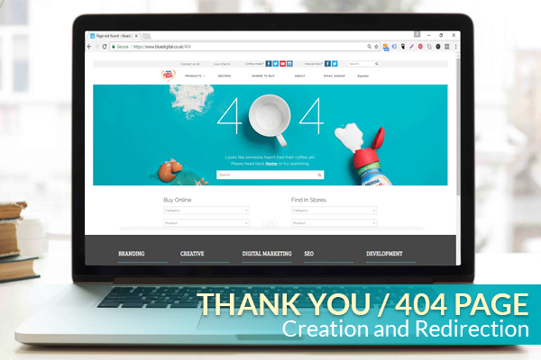 THANK YOU / 404 PAGE CREATION