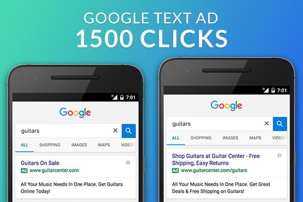 Google PPc Text Ads 1500 CLICKS package